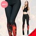 Nova impressão 3D retro fogo fogo preto sexy mulheres verão casual estilo punk rock leggins tempo aventura calças Leggings fullprint
