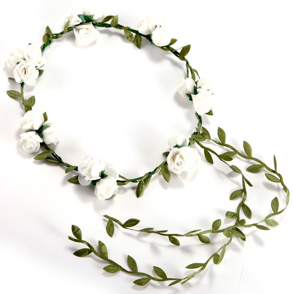 3 Flower / Banquet! Headband Hair Accessories Wedding Floral Head Garland Wedding Headband White