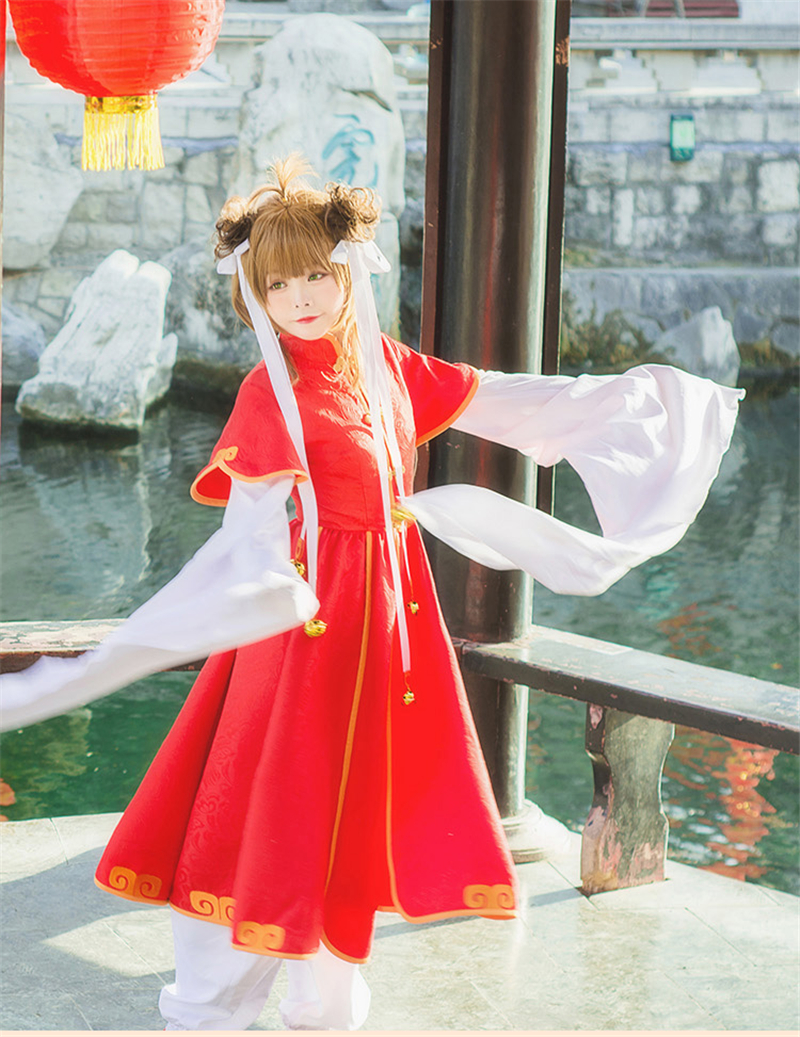 Japanese Hot Amine Card Captor SAKURA Cosplay Costume Chinese Style Red Plum Hot Sale Dress hot sale red mini r