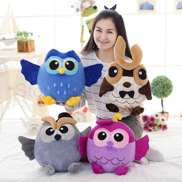 25-50 cm transporte da gota chegam novas estilo Coruja Boneca Travesseiro Brinquedos de Pelúcia cinza/azul/roxo/ marrom pássaro colorido boneca de presente de Aniversário para Crianças