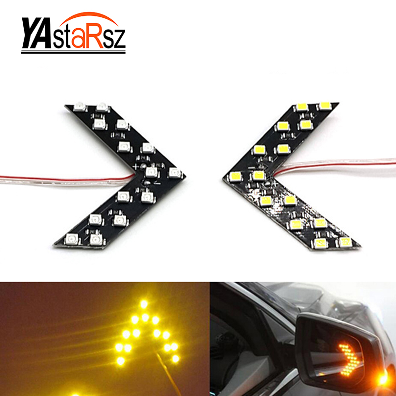 1X Free Shipping Car Modeling 14 SMD LED Arrow Panel Car Rearview Mirror Light Warning Light Signal Light Car Parking Parking