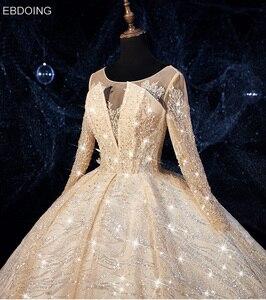 Image 4 - EBDOING Luxurious sequins Ball Gown Wedding Dress O Neckline Vestidos De Novia Plus Size Bride Dress Prom Wedding Gown