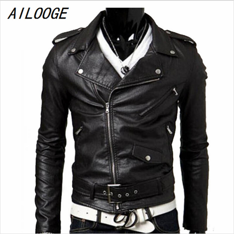 Spring autumn 2016 new brand male faux leather jacket man motorcycle bomber biker mens leather jackets