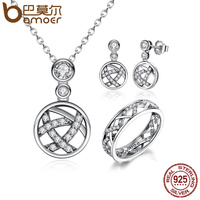 BAMOER Authentic 925 Sterling Silver White Crystals Stackable Clear CZ Jewelry Sets Wedding Engagement Jewelry ZHS029