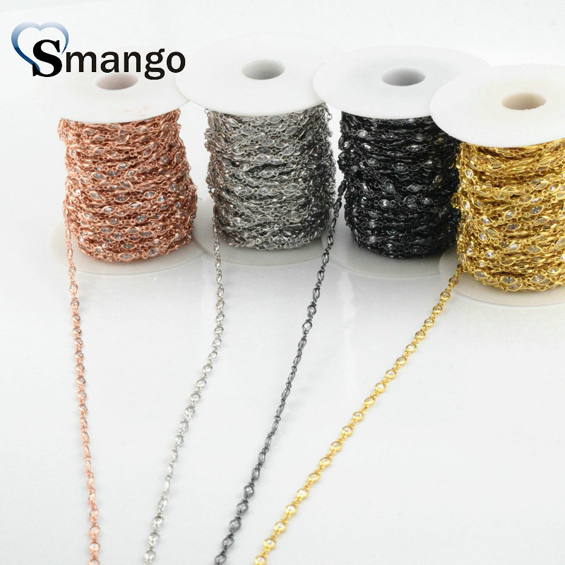 3 Meters Special shape Jewelry Accessory Chain Setting CZ 4 Plating Colors can Mix Colors in Jewelry Findings Components from Jewelry Accessories