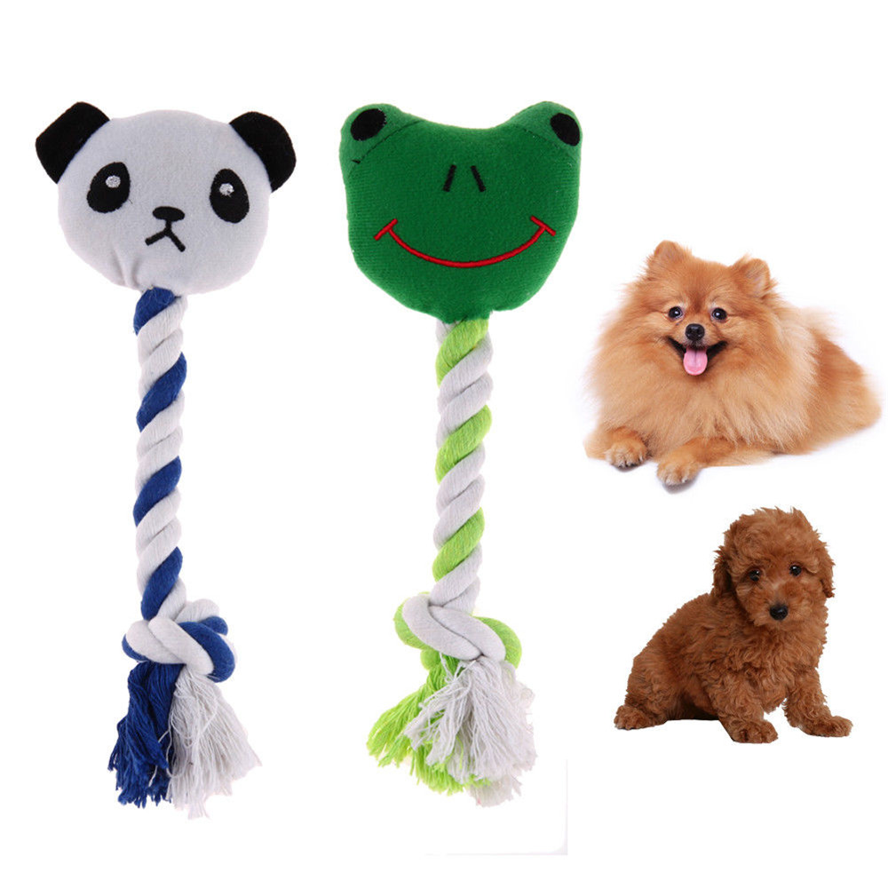 NEW Panda Frog Dog Play Toy Knot Rope Sound Toy Cartoon Animal Shaped Squeaker Squeaky Bite Grinding Teeth Dolls Pets Supplies