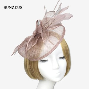 Image 2 - Wedding Hats and Fascinators Feathers Linen Elegant Bridal Hats Golden Color Womens Hat Hair Accessories SH13