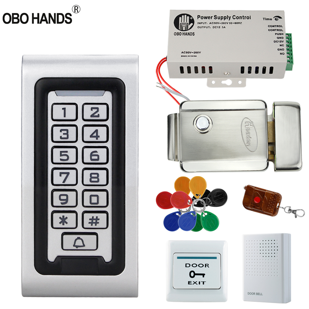 IP68 Waterproof Access Control System Kit 125KHz RFID Keypad Metal+ Electric Lock +Door Exit Button+ Power Supply Switch Outdoor obo hands rfid access control system kit set with power supply electric door lock exit button 5 keyfobs for metal and glass door