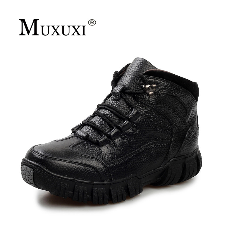 Size 38-46 Winter Natural Leather Men Quality Ankle Boots Mens Water Proof Work Shoes Zapatos Hombre warm snow pursh boots plush casual suede shoes boots mens flat with winter comfortable warm men travel shoes patchwork male zapatos hombre sg083