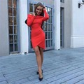 2016 new sexy high quality RED BLACK long sleeve bandage dresses dropshipping ladies' party dress wholesale