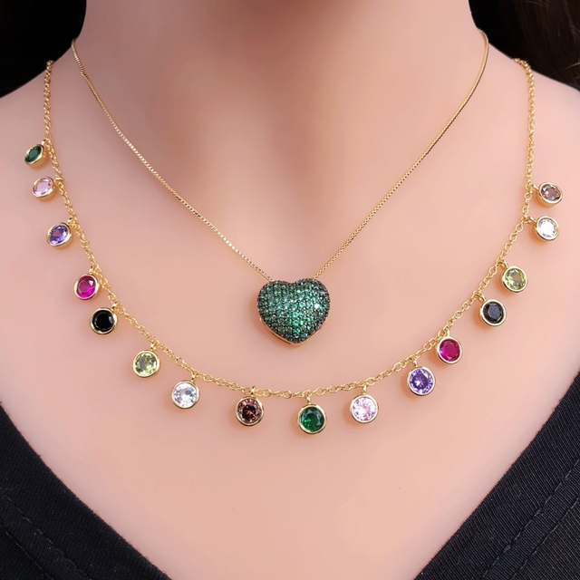 luxury colorful round Bezel Drip necklace For women Multicolor cubic zirconia Rainbow tassel Choker Necklace Gold color Jewelry