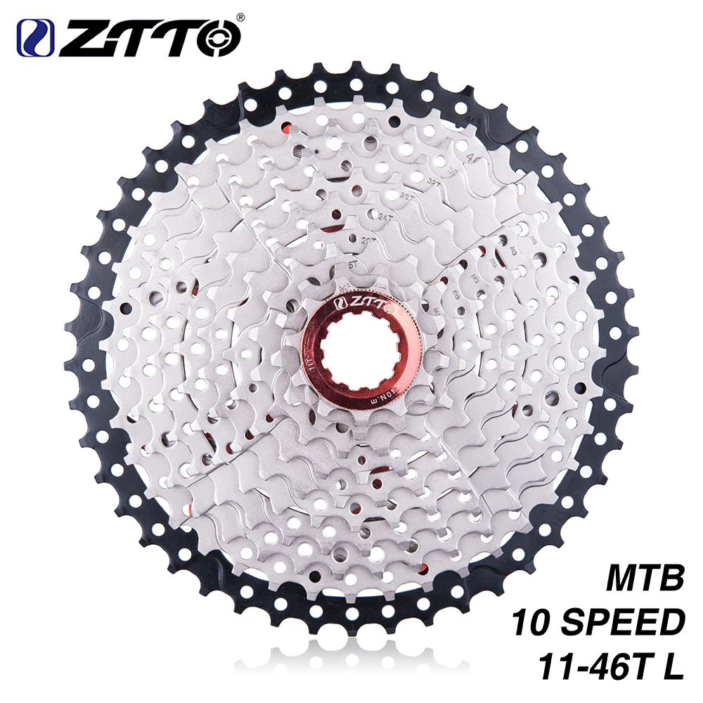 ZTTO Bicycle Cassette 11-46T 10 Speed 10s 46t Wide Ratio MTB Mountain Bike Freewheel for Parts m590 m6000 m610 m780 X7 X9