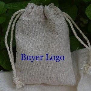 """Image 2 - 100 kişiselleştirilmiş Logo keten çanta 9x12cm (3 4/8 """"x 4 6/8"""") baskı alıcı tasarım veya şirket mağaza adı jüt hediye kesesi"""