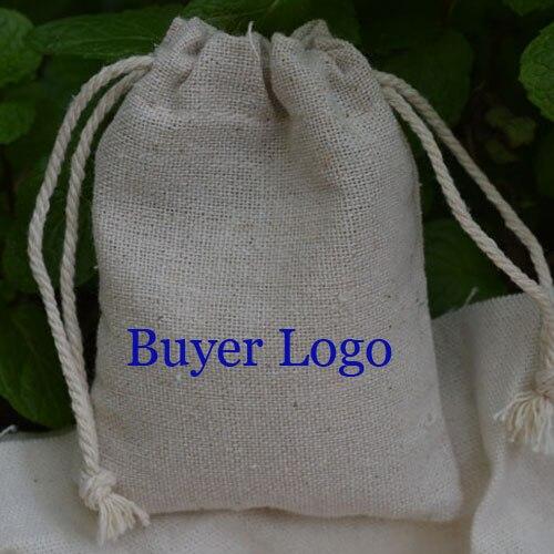 """100 sztuk spersonalizowane Logo płócienna torba 9x12cm (3 4/8 """"x 4 6/8"""") drukuj kupujący projekt lub firmy nazwa sklepu juty sakiewka na prezent w Pakowanie i ekspozycja biżuterii od Biżuteria i akcesoria na  Grupa 2"""