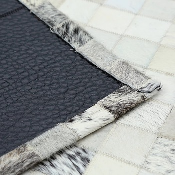 White And Black Rugs | Black & Grey/Creamy White Real Leather Cowhide Patchwork Area Rugs And Carpets
