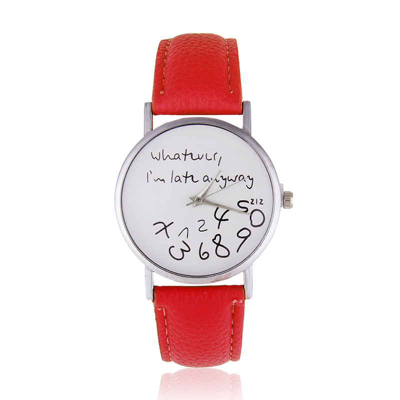 Who Cares I'm Late Anyways Stylish Quartz Wrist Watch Pu Leather Anyway LL lovesky 2016 new arrival women pu leather watch who cares i am late anyway letter watches wrist watch free shipping