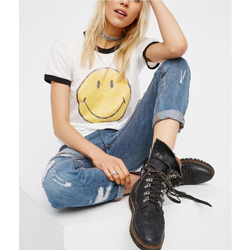 Emoji T Shirt Women Summer Cute Aesthetic Tumblr Feminist Smiley Face Vegan Bts Bt21 Vintage Punk Harajuku Kawaii White Tees Top