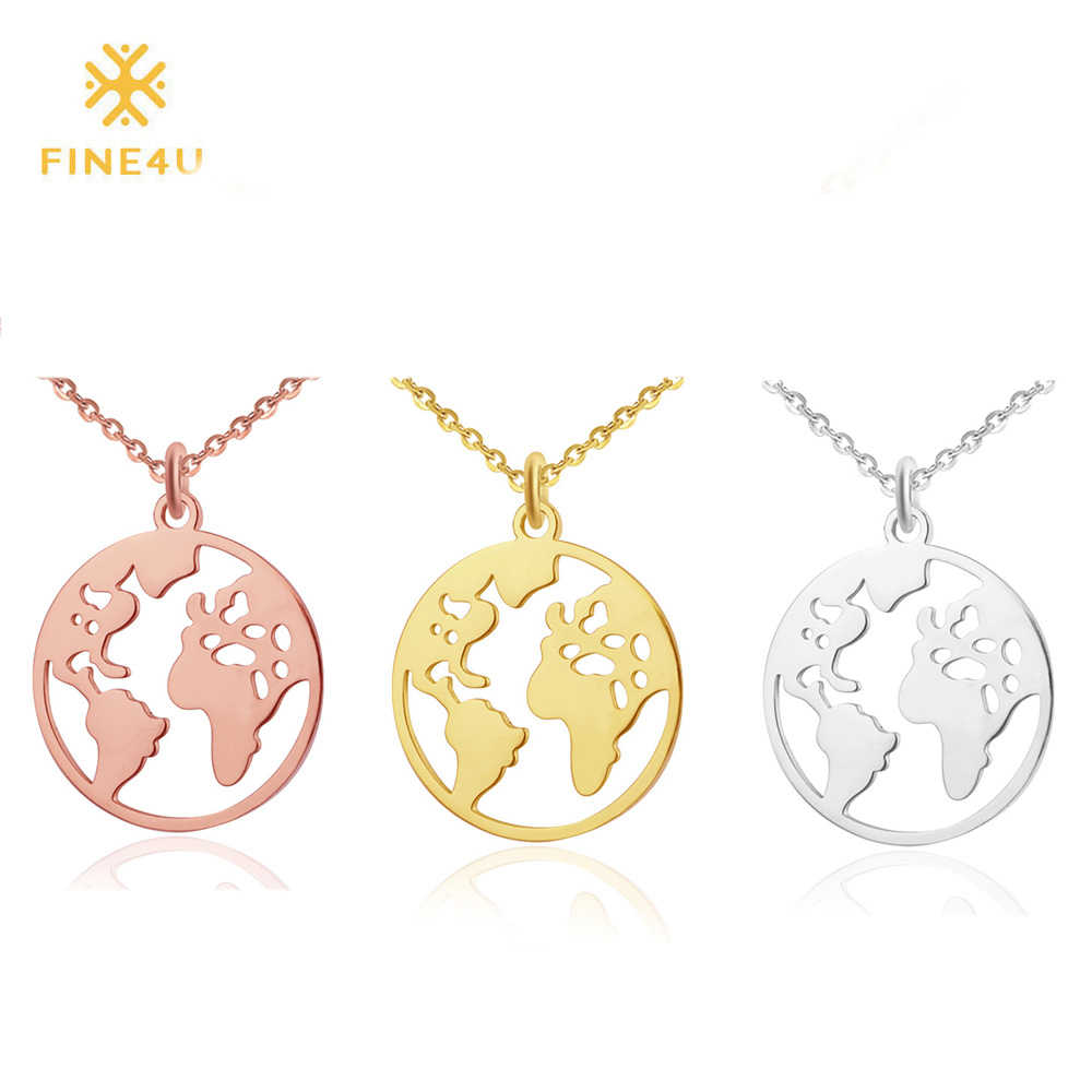 FINE4U N110 Vintage Globe World Map Necklace 316L Stainless Steel Circle Pendants Necklaces 2019 Fashion Choker Jewelry