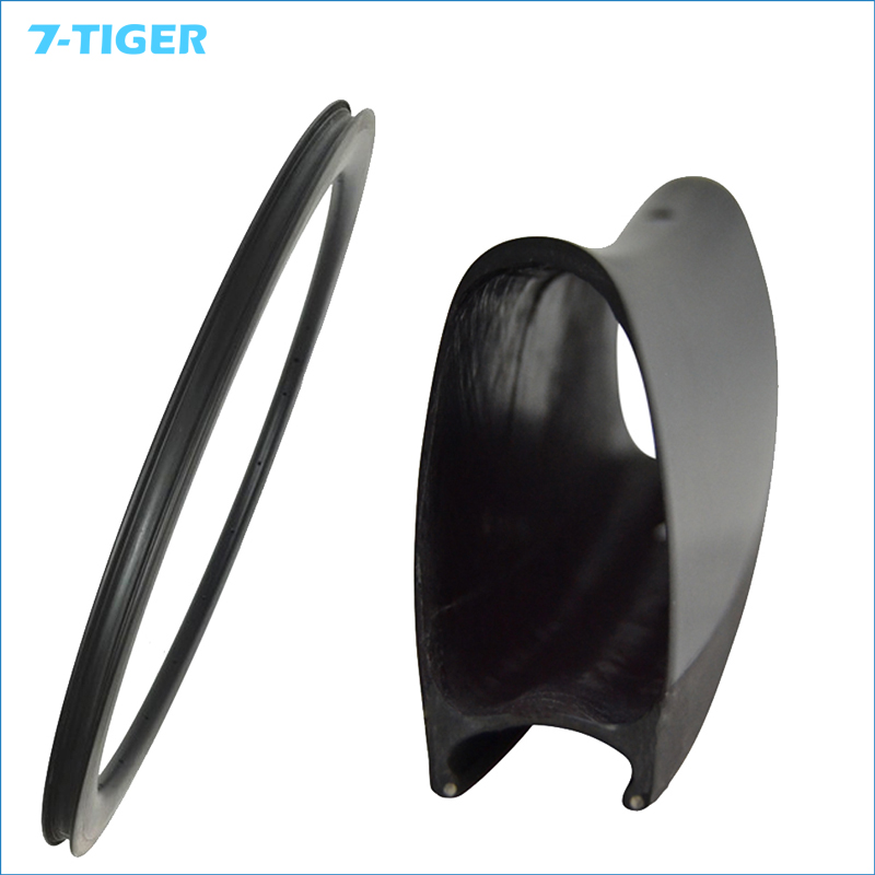7-TIGER 1 pair carbon 60mm clincher <font><b>rims</b></font> U shape Carbon Fiber Road bicycle <font><b>Rims</b></font> caron wheels3k/ud/12k matt front 20h rear <font><b>24h</b></font> image