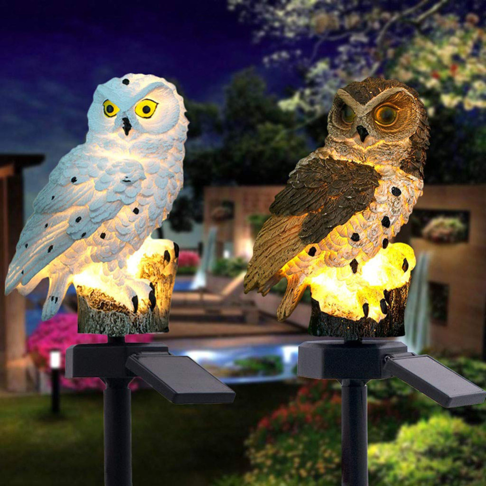Solar Powered LED Lights Garden Yard Home Owl Lawn Lamp Ornament Animal Bird Outdoor Decor Sculpture Garden Statues