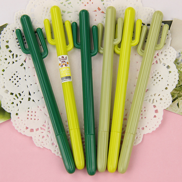 3 PCS Cute Cactus Gel Pen Kawaii Korean Stationery Creative Gift School Supplies 0.38mm Plant Pen