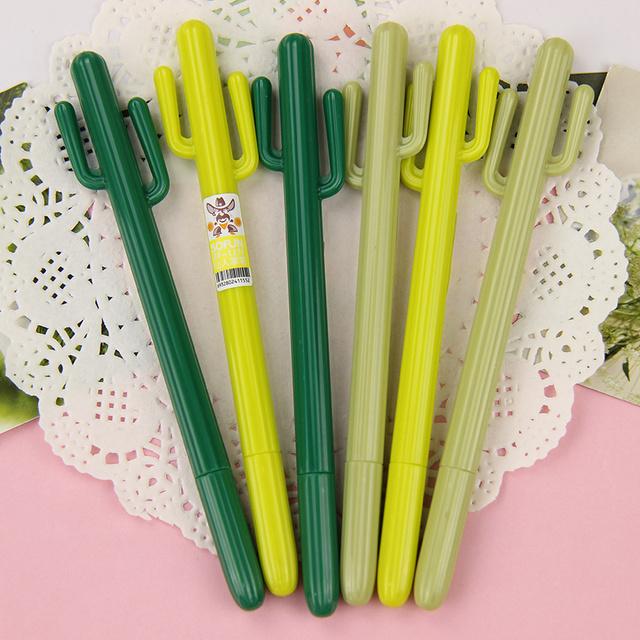 3 UNIDS Lindo Cactus Gel Pluma Kawaii Papelería Coreano Regalo Creativo Planta de Útiles Escolares 0.38mm Pluma