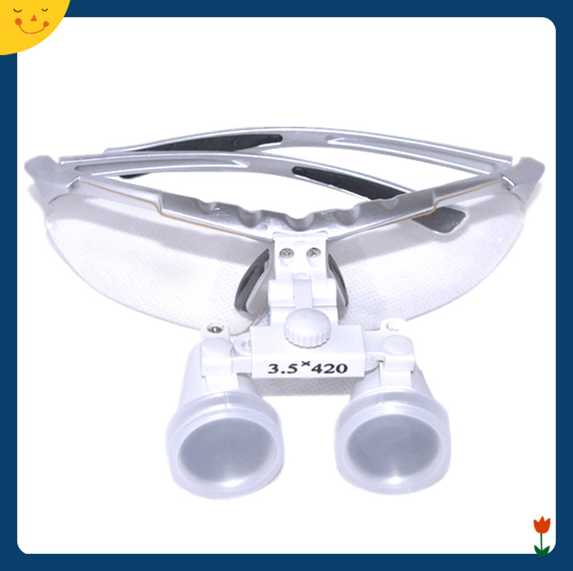 3.5X 420mm Dentist Silver Dental Surgical Medical Binocular Loupes Optical Glass Loupes Free Shipping 6 0x 6x magnifications binocular dental loupes surgical medical dentistry frame 420mm free shipping