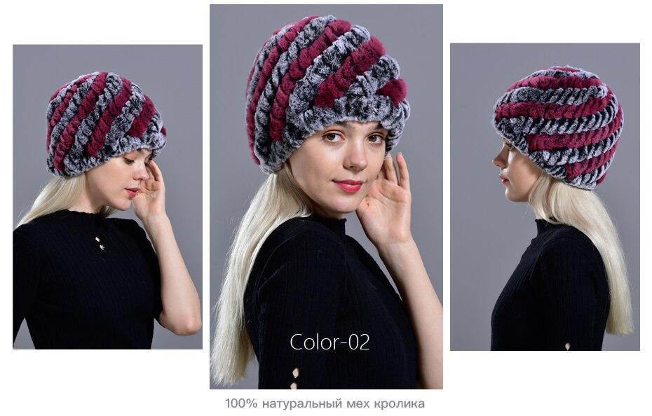 Raglaido Rabbit winter fur hat for Women Russian Real Fur Knitted Cap headgea Winter Warm Beanie Hats 2019 fashion brand LQ11279 26