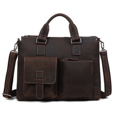 купить New 2019 Vintage Men's Cow Genuine Leather Briefcase Crazy Horse Leather Messenger Bag Male Laptop Bag Men Business Travel Bag по цене 5926.94 рублей
