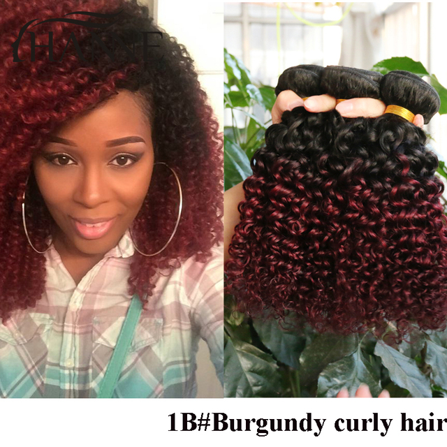 Peruvian Curly Hair Weave 3 Pcs Two Tone Ombre 1b 99j Colored Red