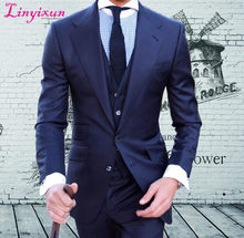 50fbe1412b14 Linyixun Custom Made high quality worsted brand Super120's blue suit Mens  Wedding tuxedos slim fit best men suit