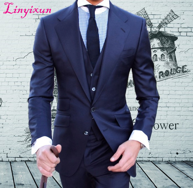 Linyixun Custom Made high quality worsted brand Super120's  blue suit Mens Wedding tuxedos slim fit best men suit