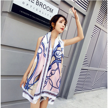 NEW Women silk scarf printed Chain soft pashmina shawls fashion neckerchief women Beach sun block Bandana designer