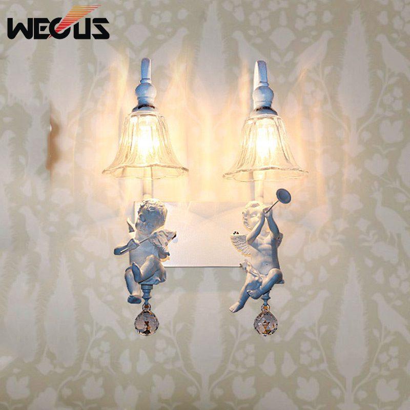 Applique murale double ange populaire, foyer pastoral salon allée de chevet escalier applique lampe lampara bar couloir lampes