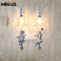 Popular double angel wall light, pastoral foyer living room bedside aisle stair sconce lamp lamparas bar corridor lamps