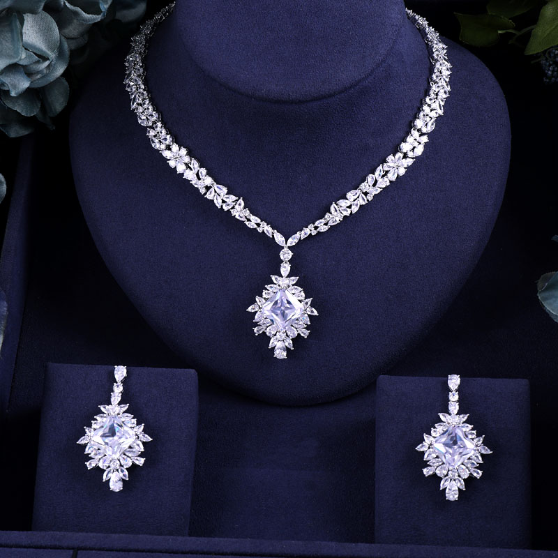Necklace Earrings Wedding-Jewelry-Sets Jankelly Crystal Dubai Party Bridal Nigeria Women