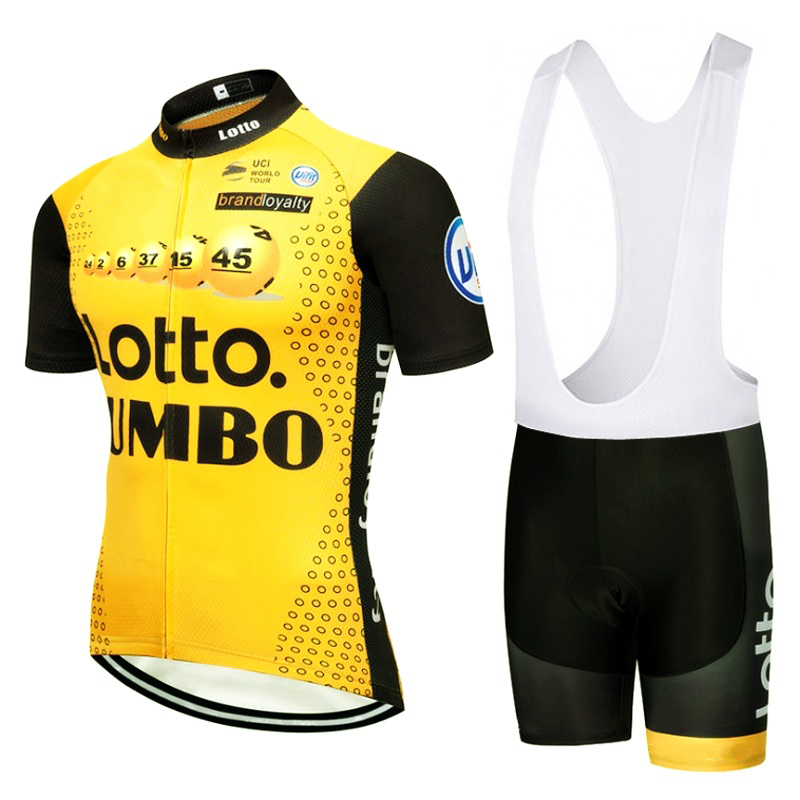 цена 2018 pro tour team yellow lotto cycling jersey kits mens quick dry summer bike cloth MTB Ropa Ciclismo Bicycle maillot gel pad онлайн в 2017 году