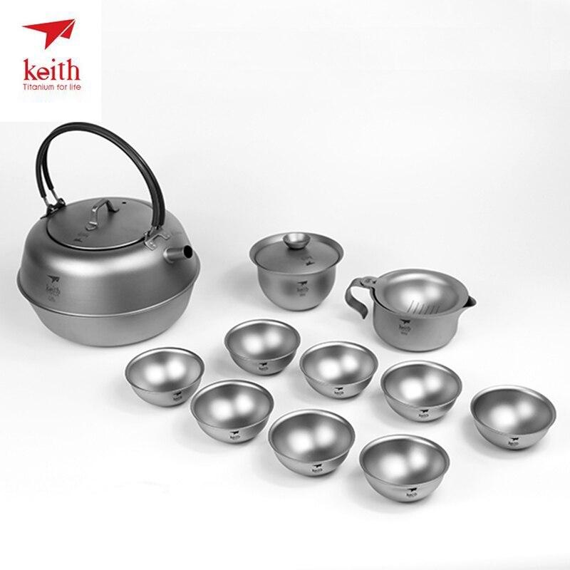Keith Titanium résistant à la chaleur Double paroi thé tasses cuisson thé bouilloire pour café eau en plein air Camping Drinkware outils Ti3930