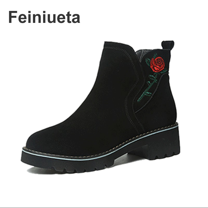 2017 Feiniueta Martin boots women new shoes short boots leather Chelsea matte leather autumn or winter embroidered women's boots 2017 new anti slip women winter martin
