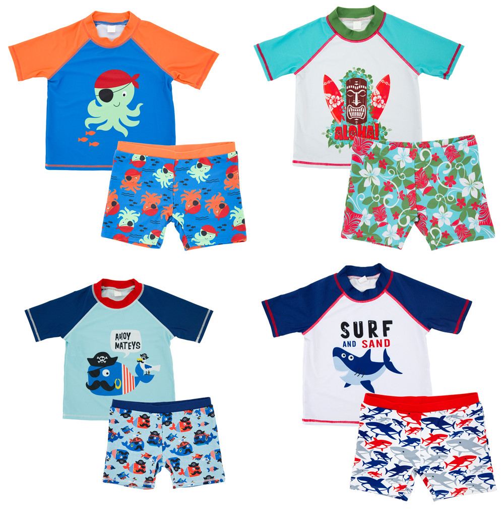 Baby Kids Boys Swimwear Short Sleeve Children Two Pieces Swimsuit Animal Printed Swimming Suits Sunscreen Beach Bathing Suit summer baby kids girls swimwear hot spring swimsuit wavy dots cute dolphin swimming suits bikini children beach bathing suit