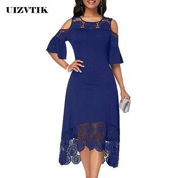 Summer Autumn Dress Women 2019 Casual Plus Size Slim White Lace Maxi Dresses Elegant Vintage Sexy Off Shoulder Long Party Dress 1