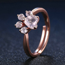 GS Fashion Jewelry Rose Gold Ring Romantic Wedding Bear's Paw 5mm 100% Natural Color Rings For Love G7
