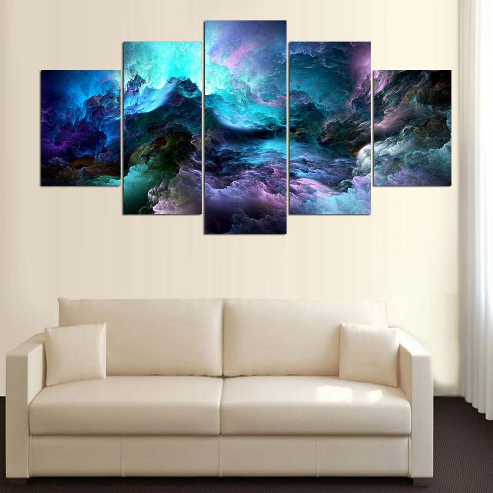 Wall Canvas Art Print Painting Poster 5 Panel Colorful Landscape ...
