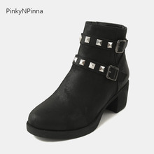 hot sale womens ankle boots studs rivets buckle high chunky heels western Gothic street style designer runway winter booties