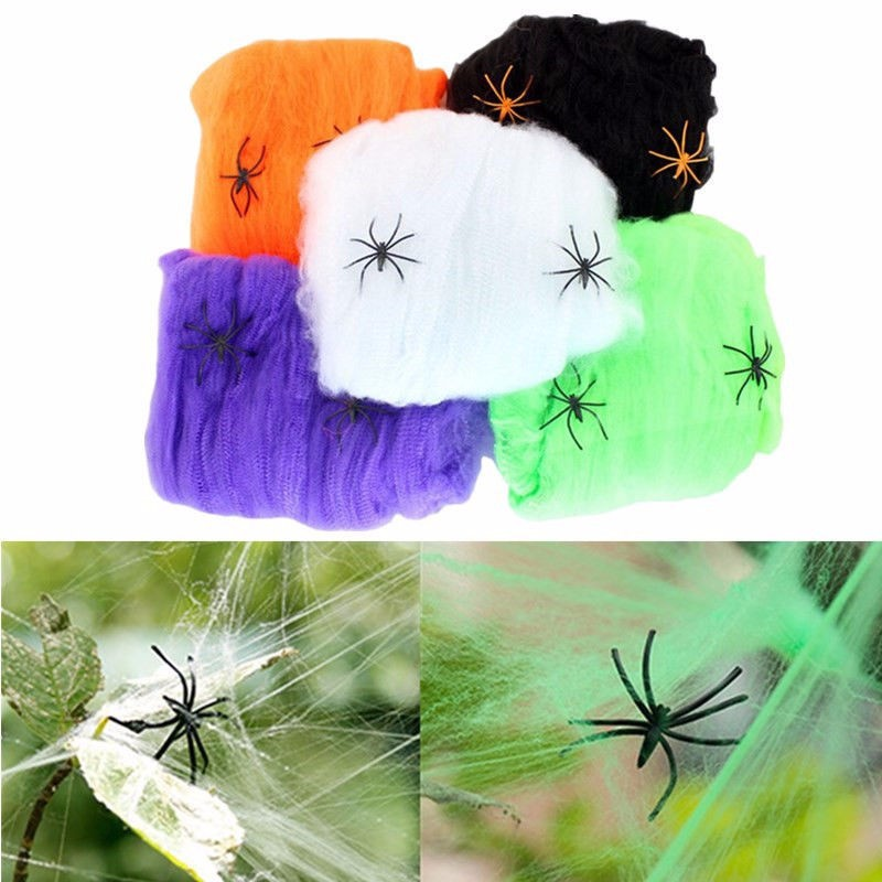 Halloween Scary Party Scene Props White Stretchy Cobweb