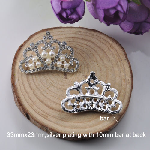 (M0478) 100pcslot,crown shape rhinestone ribbon slider for wedding invitation card,silver plating ,10mm bar
