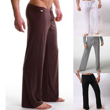YJSFG HOUSE Brand Men's Sleep Bottoms Home Pants Low Waist Fashion Casual Loose Pants Ice Silk Long Trousers Men's Lounge Pant