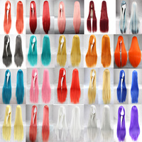 Hatsune Miku Women 100cm 40 Long Women Synthetic Wigs For Cosplay Hair Halloween Costumes Perruque Peruca