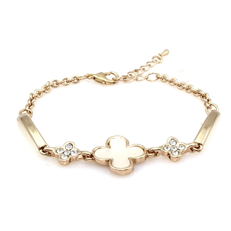 Buy Vintage Silver Bracelets For Girls Clover Style Crystal Jewelry Fashion