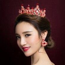 1Set European Royal Crown Gold Silver Pplated Rhinestone Tiara Jewelry Large Bridal Queen Wedding Headband Hair Accessories